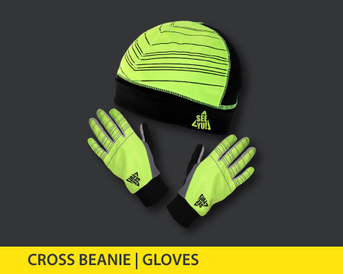 cross beanie and gloves